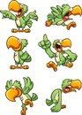 Green cartoon parrot with different expressions