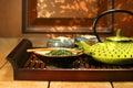 Green cast iron teapot Stock Photography