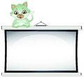 A green cat above the whiteboard illustration of on white background Stock Photo