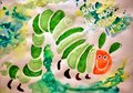 Green caterpiller a watercolor drawing i painted of the hungry caterpillar Stock Photography