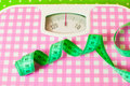Green centimeter and scales mechanical Royalty Free Stock Photos