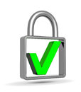 Green check mark into a closed padlock security concept Stock Photo