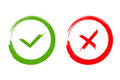 Green check mark OK and red X icons, isolated on white background Royalty Free Stock Photo