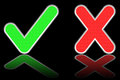 Green check mark and red cross on glossy black background high resolution d image Royalty Free Stock Images