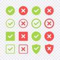 Green check mark and red cross icon set. Circle and square. Tick symbol in green color, vector illustration Royalty Free Stock Photo