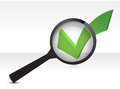 Green checkmark and magnifying glass Stock Image