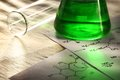 Green chemistry with reaction formula Royalty Free Stock Photography