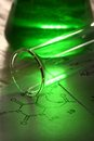 Green chemistry with reaction formula Royalty Free Stock Photo