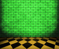 Green Chessboard Brick Interior Background Royalty Free Stock Photo