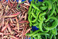 Green chilies and dried chillies Royalty Free Stock Photography