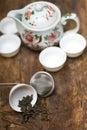 Green chinese tea set Stock Photos