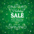 Green christmas background and label with sale off Royalty Free Stock Photo