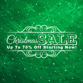 Green christmas background with label for sale ve vector illustration Royalty Free Stock Images