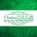 Green christmas background with label for sale ve vector illustration Stock Image