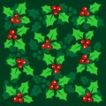 Green christmas background stylized pattern with holly berry on a Stock Photo