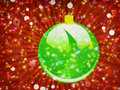 Green Christmas ball on sparkle background Royalty Free Stock Photos