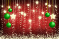 Green Christmas ball and white stars background Stock Photos