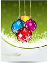 Green christmas card design with decorations Stock Photo