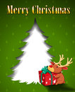 A green christmas card with a reindeer hugging a gift illustration of Royalty Free Stock Image
