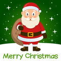 Green christmas card santa claus merry with a cartoon holding the sack of the gifts with stars and snow on a background eps file Royalty Free Stock Photos