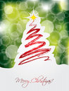 Green christmas card with scribbled tree design Royalty Free Stock Photos
