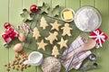 Green Christmas Holiday Cookies Baking Royalty Free Stock Photo