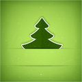 Green Christmas tree card Stock Photography