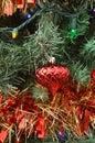 Green Christmas tree color lights red ball ornament
