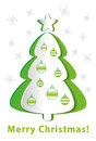 Green christmas tree with ornaments Stock Image
