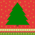 Green Christmas tree on red background with golden stars