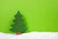 Green Christmas Tree On A Snow...