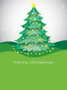 A green christmas tree with sparkling series lights illustration of Stock Images