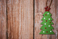 Green Christmas Tree On Wood B...