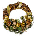 Green christmas wreath with decorations, isolated on white