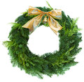 Green christmas wreath woth golden bow with isolated on white background Royalty Free Stock Image