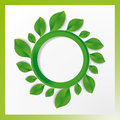 Green circle with leaves on it the white background Royalty Free Stock Image