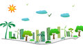 Green city on the arrow with tree building solar cell and wind turbine Royalty Free Stock Images