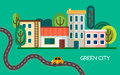 Green city with a lot of trees, waving road and electric vehicle. Small town with buildings, houses and shop. Vector