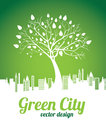 Green city over background vector illustration Royalty Free Stock Photo