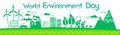 Green City Silhouette Wind Turbine Solar Energy Panel World Environment Day Banner