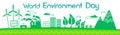 Green City Silhouette Wind Turbine Solar Energy Panel World Environment Day Banner Royalty Free Stock Photo