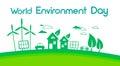 Green City Silhouette Wind Turbine Solar Energy Panel World Environment Day Royalty Free Stock Photo