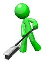 Green Cleaning Man, Environmental Services Royalty Free Stock Images