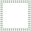 Green clover border, frame isolated on white background. Ireland symbol pattern. Watercolor illustration. St. Patrick Day template