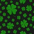 Seamless pattern green clover leaf decorative on a dark black background