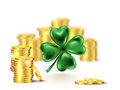 Green clover leaf, vector illustration for St. Patrick day. Blured stack of coins and four-leaf on white background
