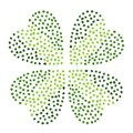 Green Clover Leaves Heart Shaped on a White Background. St Patricks Day Vector Illustration Hand Drawn. Savoyar Doodle Style. Royalty Free Stock Photo