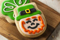 Green clover st patricks day cookies ready to eat Royalty Free Stock Photography