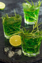 Green cocktail with lime, soda, crushed ice and tarragon leaves. Royalty Free Stock Photo