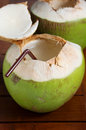 Green coconut water drink Royalty Free Stock Photo